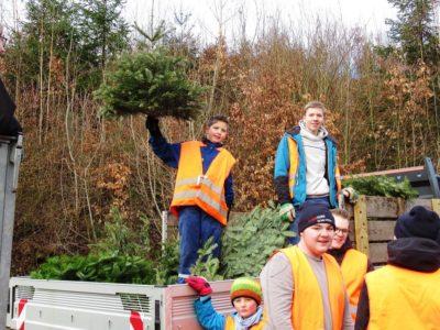 Jugendfeuerwehr Mernes sammelt Weihnachtsbäume ein
